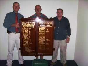 Gympie Regional Councillor for Div 6 Tony Perrett, Gympie RSL member Ivan Friske and Pie Creek Hall Committee convenor Tim Wilson with the refurbished Mooloo district honour board.